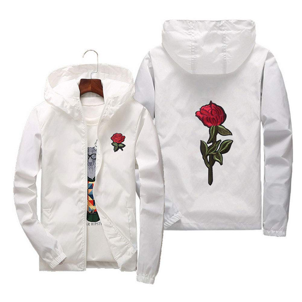 Diaconna Men's Women Casual Hooded Jacket Windbreaker Embroidery Rose Spring Fall Streetwear College Style (M, White)