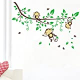 WallStickersDecal Jungle Forest Three Monkey playing on tree vine wall decal sticker