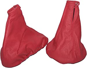 The Tuning-Shop Ltd For Alfa Romeo 147 2000-04 Gear & Handbrake Gaiter Red Italian Leather