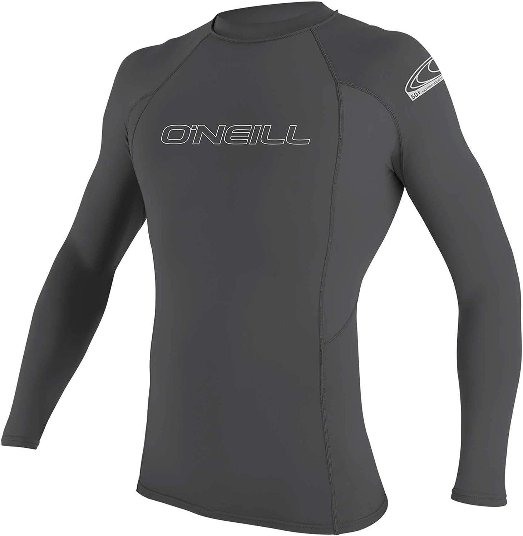 O'Neill Men's Basic Skins UPF 50+ Long Sleeve Rash Guard, Smoke, L: Clothing