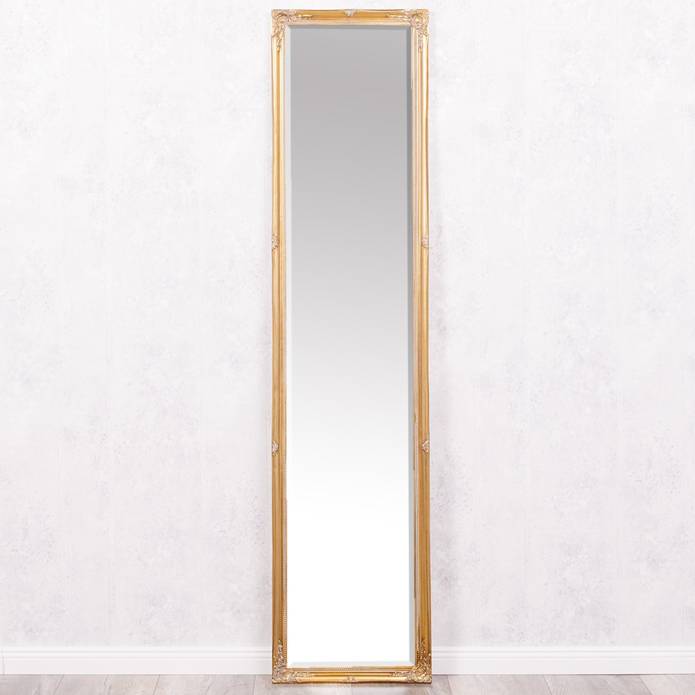 LEBENSwohnART Spiegel Gracy barock antik-Gold 150x40cm Wandspiegel Holzrahmen Facette