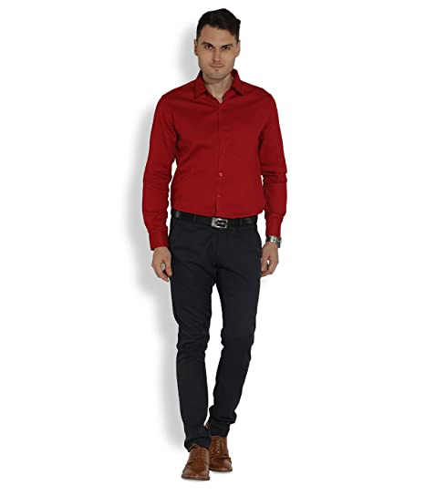 509b6fe60f Erric Men Red Self Design Tailored Fit Semi Formal Shirt  Amazon.in   Clothing   Accessories