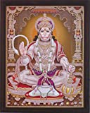 Lord Pawan Putra Hanuman giving blessings with Om symbol in Hand and holding gada (mace), A Hindu Holy Religious Poster painting with frame for Hindu Religious and Gift purpose.