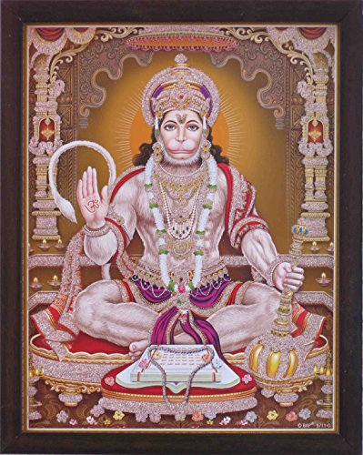 Lord Pawan Putra Hanuman giving blessings with Om symbol in Hand and holding gada (mace), A Hindu Holy Religious Poster painting with frame for Hindu Religious and Gift purpose. by HandicraftStore