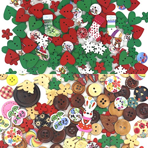 Trasfit 40g Christmas Wooden Buttons, with 40g Assorted Colorful Wood Buttons for Crafts Scrapbooking or Sewing, DIY Craft Decoration, Mixed Color Wood Color Sewing Button