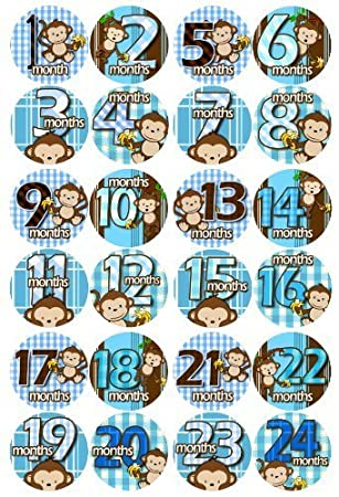 Amazon 1 24 months blue banana monkeys baby month onesie 1 24 months blue banana monkeys baby month onesie stickers baby shower gift photo shower negle Images