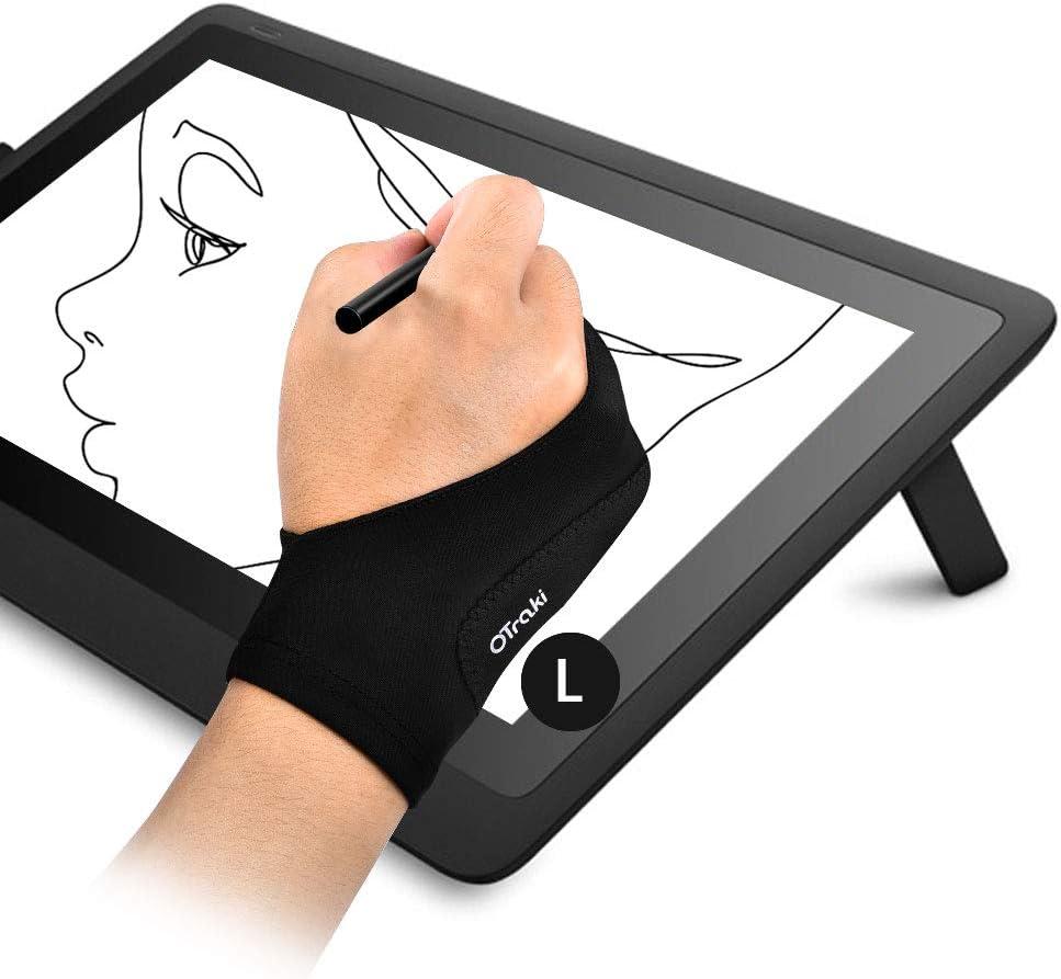 OTraki Guantes para Dibujar en Tableta Palma Rechazo 2PCS Guante Tableta Gráfica Mano Derecha e Izquierda Anti Incrustantes Transpirable Guantes Dibujante de Dos Debos, Talla L (9x21.5CM)