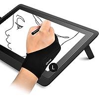OTraki Guante Dibujo en Tableta Doble Capa Espesado Palma Rechazo 2PCS Guante Tableta Gráfica Mano Derecha e Izquierda…