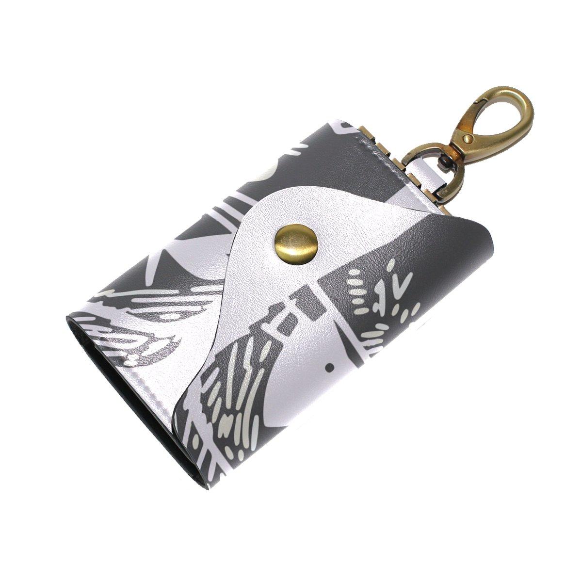 DEYYA Cat Fish Bone Leather Key Case Wallets Unisex Keychain Key Holder with 6 Hooks Snap Closure