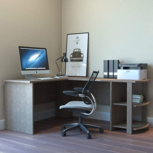 Modern Computer Desk S Shape with Bookcase Bookshelf Shelves Corner Home Office