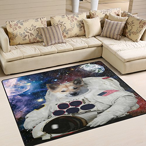 ALAZA Funny Dog Astronaut Space Solar System Area Rug Rugs for Living Room Bedroom 7' x 5'
