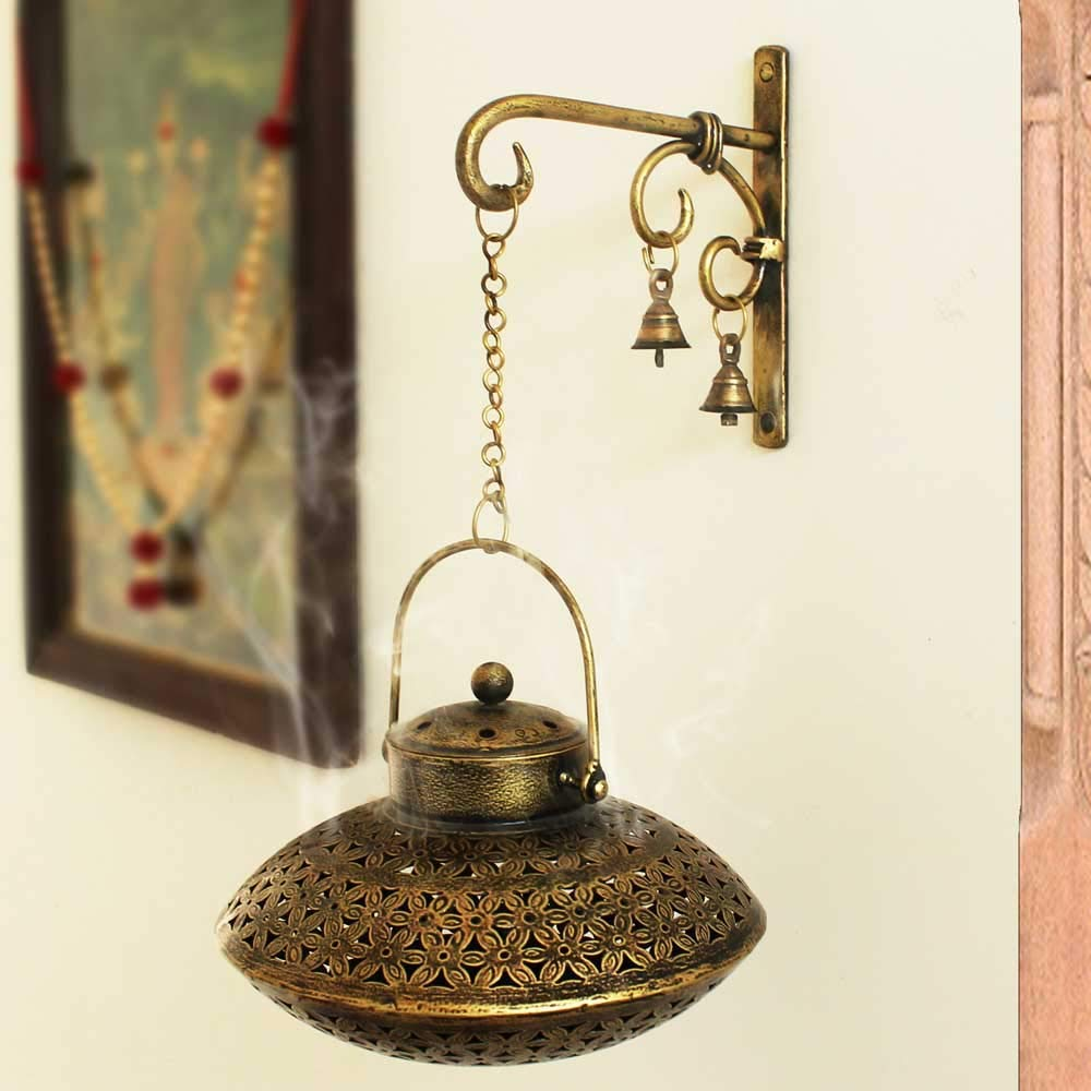 Giant Roots Handcrafted Iron Degchi Handi Pot - A Dhoop Incense Holder with Brass Bell Art Iron Hanger- 9''x9''x 6'' by Giant Roots (Image #7)