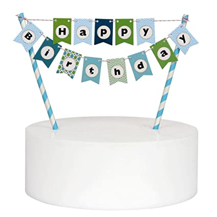 Mini Happy Birthday Cake Bunting Banner Topper Multicolor Pennant Flags With Blue Pole