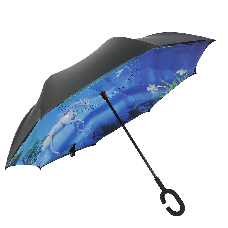 con protecci/ón contra Rayos UV Paraguas de Doble Capa a Prueba de Viento con Mango en Forma de C Invertida Paraguas Invertido Unicornio Reversible Paraguas Plegable