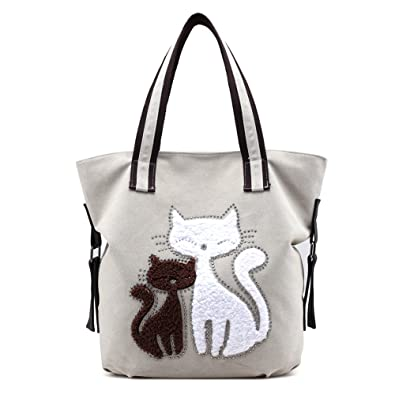 Hiigoo Lovely Canvas Cat Tote Bag Casual Handbag Shopping Bag Shoulder Bags Large Totes (Beige)