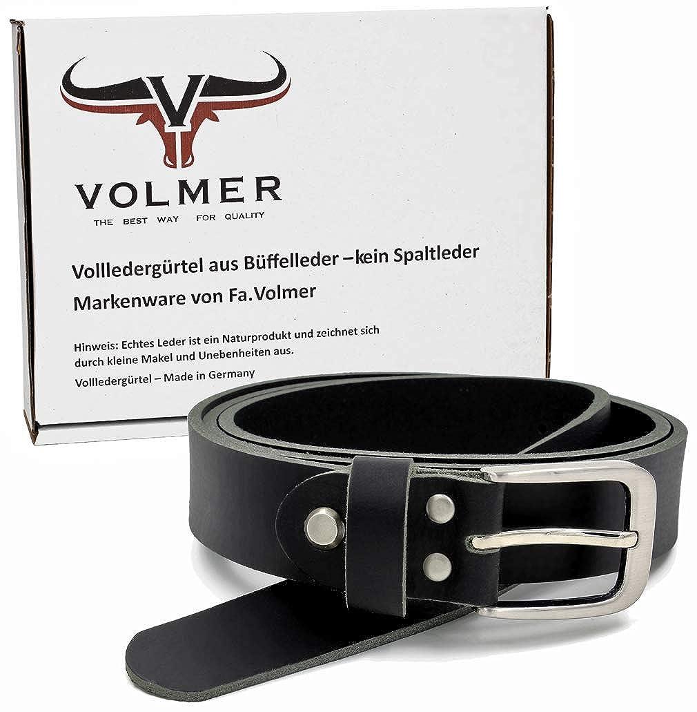 db7458332b647f Fa.Volmer ® Schwarzer Vollledergürtel aus Büffelleder 30mm breit ca. 4mm  stark kürzbar #GSw300801: Amazon.de: Bekleidung