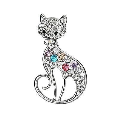 Nighteyes66 Women's Shiny Rhinestone Cat Brooch Pin Scarf Dress Accessory Jewelry 0YTDI