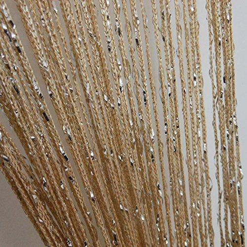 ZideTang Encryption Glitter Flat String Door Curtain Divider Tassel Panel Color Champagne
