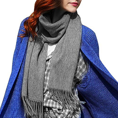 Designed Fashion Scarfs for Women Men, Cashere Feel Large Long Soft Scarfs with Gift Bag,Grey Cashmere Scarf Blanket Large Soft Pashmina Shawl Wrap For Men and Women