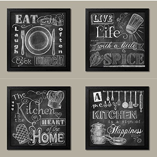 Beautiful, Fun, Chalkboard Kitchen Signs; Messy Kitchen, Heart of the Home, Spice of Life, and Cook Much; Four 12x12in Black Framed Prints; Ready to hang! (Kitchen Framed Wall Art)