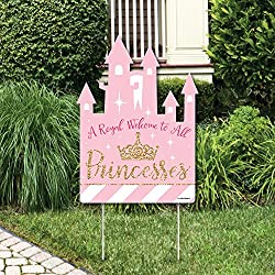 Big Dot of Happiness Little Princess Crown - Party Decorations - Pink and Gold Princess Baby Shower or Birthday Party Welcome Yard Sign