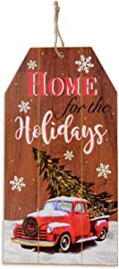 "Merry Christmas Decor Wooden Sign Board 14""x7.5"" Home Wall Decorations Celebrate A Happy Holidays Wood Decore Indoors Outside Porch Yard Door Decorative Hanging Doorway Plank Plaque Red Truck"