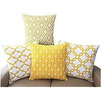 TIDWIACE® Amarillo Funda de Cojine Funda de Almohada del Hogar Algodón Lino Decorativa Sofá Throw Cojín Decoración…
