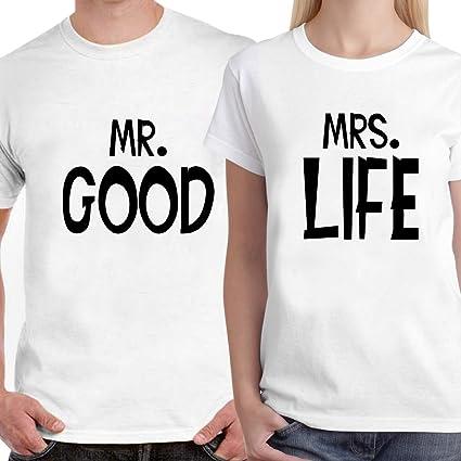 2edcb7e4 Buy DreamBag Couple T - Shirt -Mr.Good Mrs. Life Unisex Couple T ...