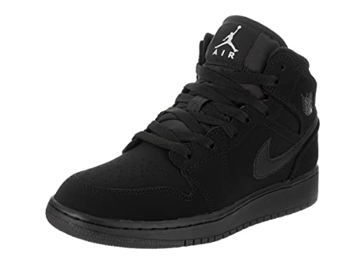 finest selection 5839d 361df Nike Jordan Youth Air Jordan 1 Mid Black Leather Trainers 39 EU
