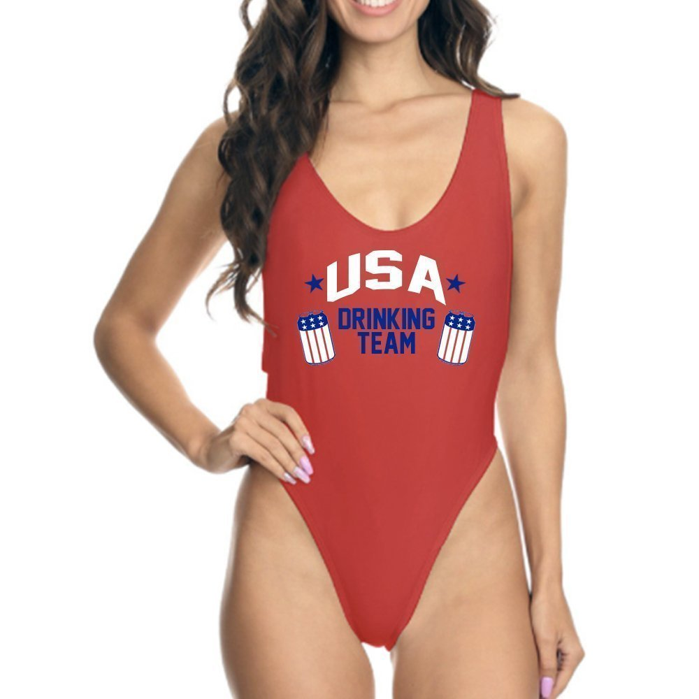 USA Drinking Team High Cut One Piece Swim Suit 4th of July Independence Day Bathing Suit