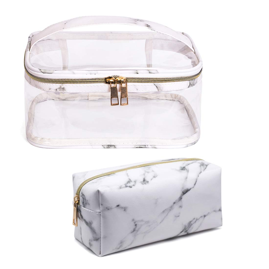 2 Pieces Clear Makeup Bag Organizer Marble Large Toiletry Bag Waterproof Transparent Travel Portable PVC Cosmetic Pouch With Handle Gold Zipper Storage Case for Women,White