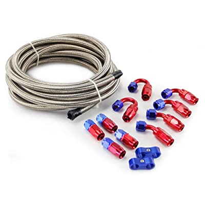 SUNROAD 4AN 16Ft Universal Braided Oil Fuel Line Hose Stainless Steel Nylon w/10PC Swivel Fitting Hose Ends & 2PC Hose Separators Kit: Automotive
