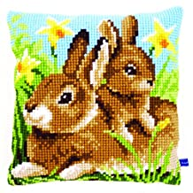 Cross Stitch Cushion: Mother and Baby Rabbit
