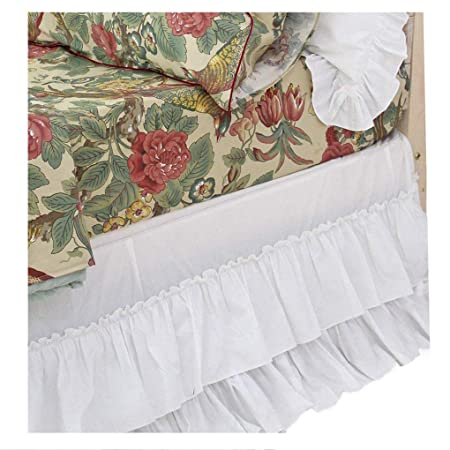 Queens House Shabby Dust Ruffle White Bed Skirts King-02