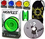 Henrys LIZARD YoYo - Professional Yo Yo Set + LEARN Yo-Yo Tricks DVD +Travel Bag! Pro YoYos For Kids & Adults. (Blue)