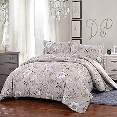 Simple&Opulence Microfiber Light Gray 3 Piece Bedding Pastoral Style Floral Duvet Cover Set (King)