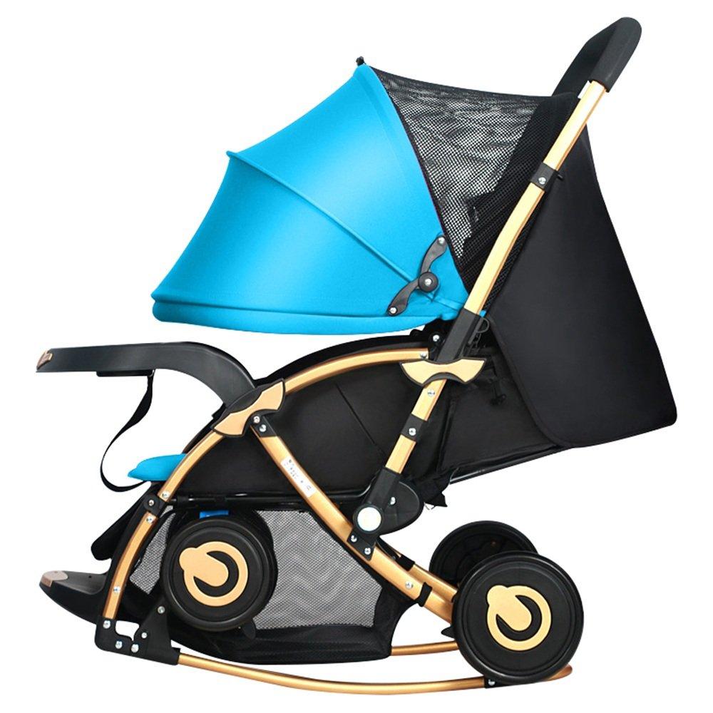 HAIZHEN マウンテンバイク 多機能乳母車ベビーベビーカーロッキングチェアトロリー座るとリクライニング双方向サスペンション 新生児 B07C8D3KWM 青 青