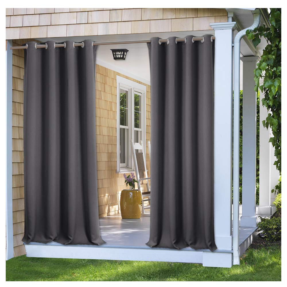 PONY DANCE Blackout Outdoor Curtains - Solid Indoor Outdoor Shades for Porch Gazebo Privacy Thermal Insulated for Patio Rust-Proof Grommet Top, 52'' x 84'', Grey, 1 Piece