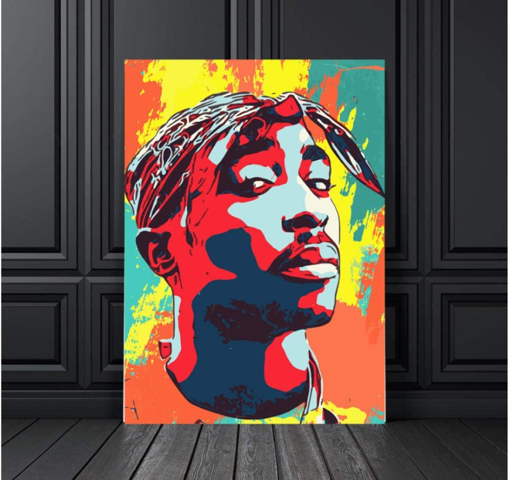 xtszlfj Wall Artwork Modular Canvas Hd Printed Home Decoration Tupac Shakur Painting Modern Pictures Nordic Style Poster for Living Room 50x70cm No Frame