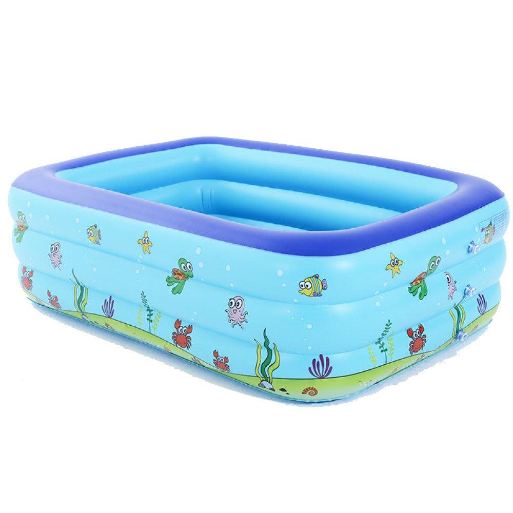 Großes Aufblasbares Pool Erwachsenes Aufblasbares Pool Aufblasbares Waschbecken Familien-aufblasbares Schwimmen-Becken,Blau-150cm