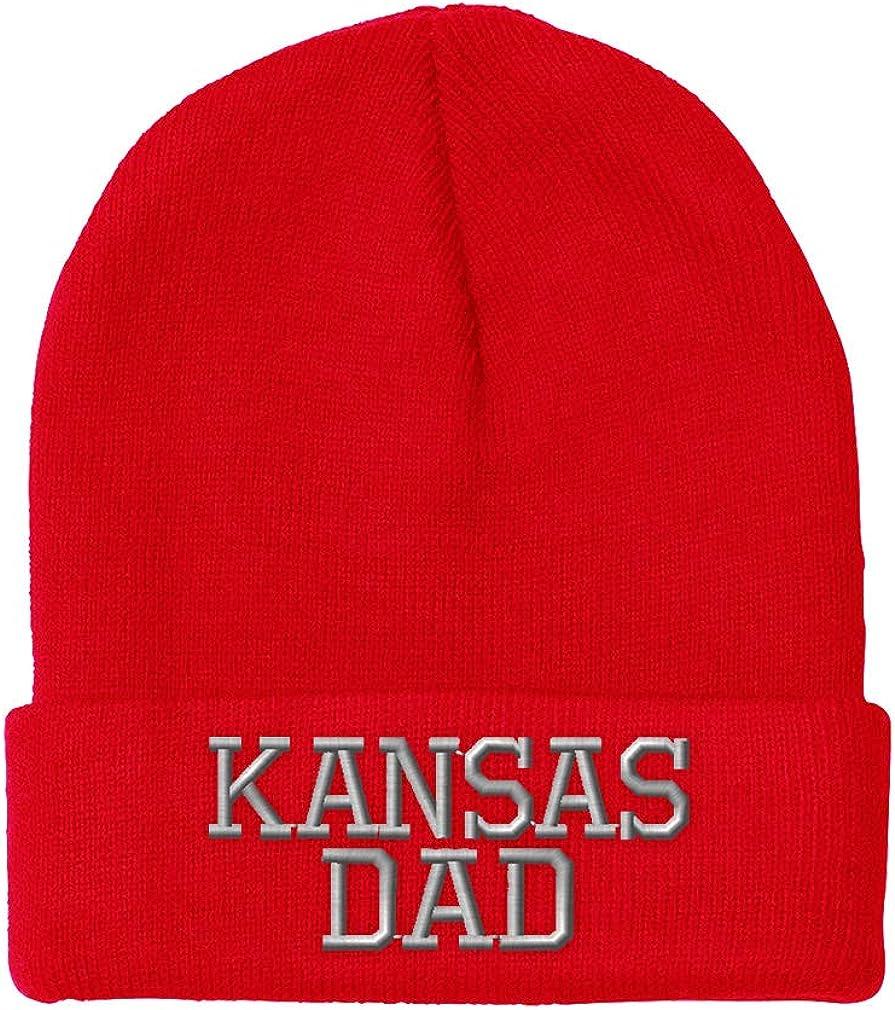 Custom Beanie for Men /& Women Kansas Dad State America USA Embroidery Acrylic