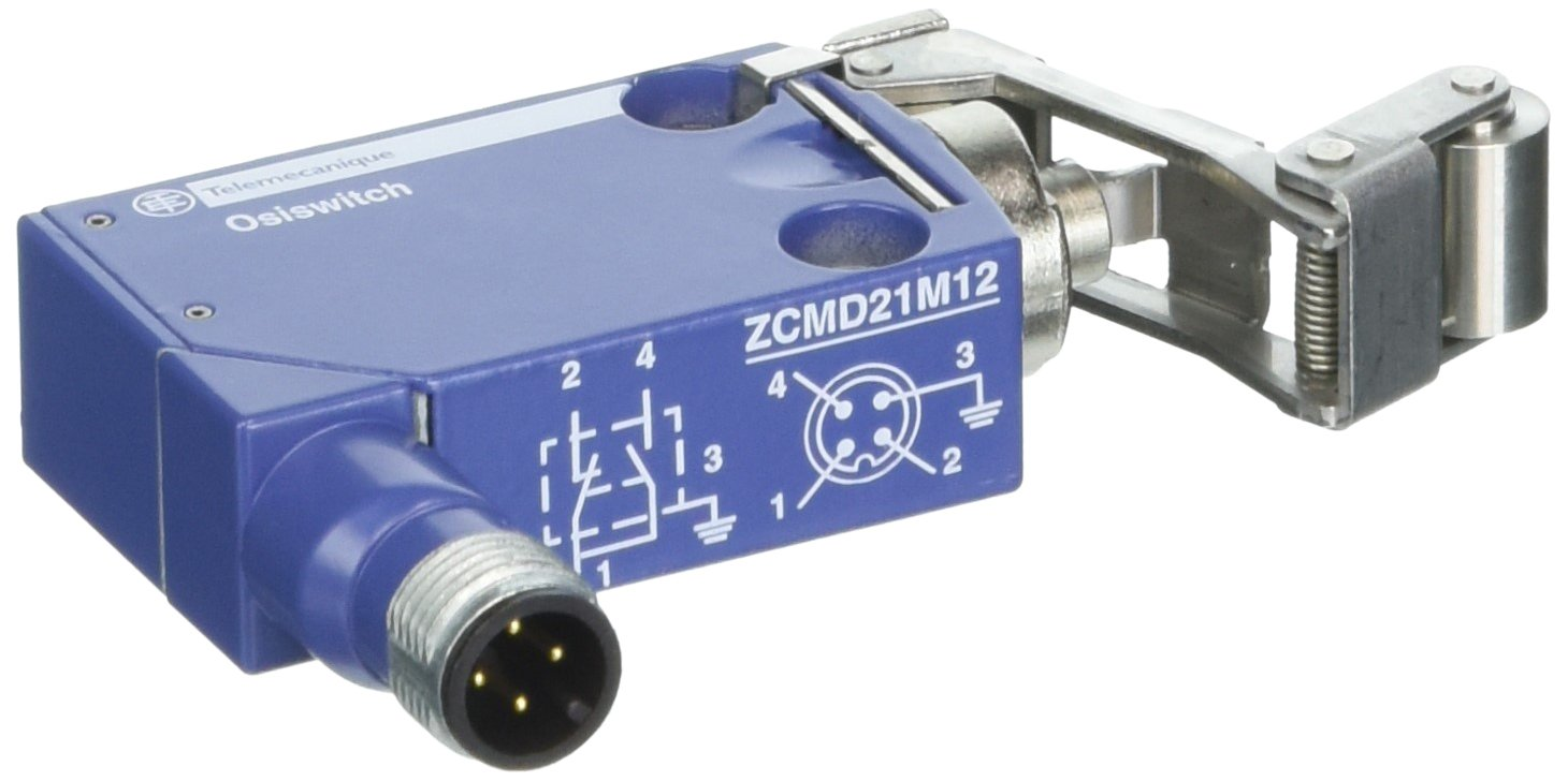 Telemecanique XCMD OsiSense XC Standard Limit Switch, 1 NO and 1 NC Snap-Action Silver Contacts, Retractable Steel Roller, 4-Pin M12 Male Connector, Metal Body
