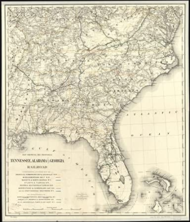 Railroad Map Of Georgia.Amazon Com 1893 Map Showing The Proposed Tennessee Alabama And