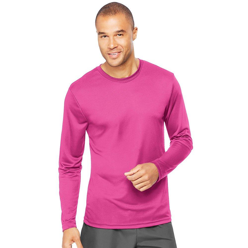 Hanes Men's Long Sleeve Cool DRI T-Shirt UPF 50+ (Pack of 2), Wow Pink, 2XL