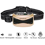 Bark Collar PETBUDDY 2018 - 7 Sensitivity Levels Emits Beep Vibration Humane Static Shock LED Rechargeable and Rain Proof No Bark Collar for Bark Control Training for Small Medium and Large Dogs