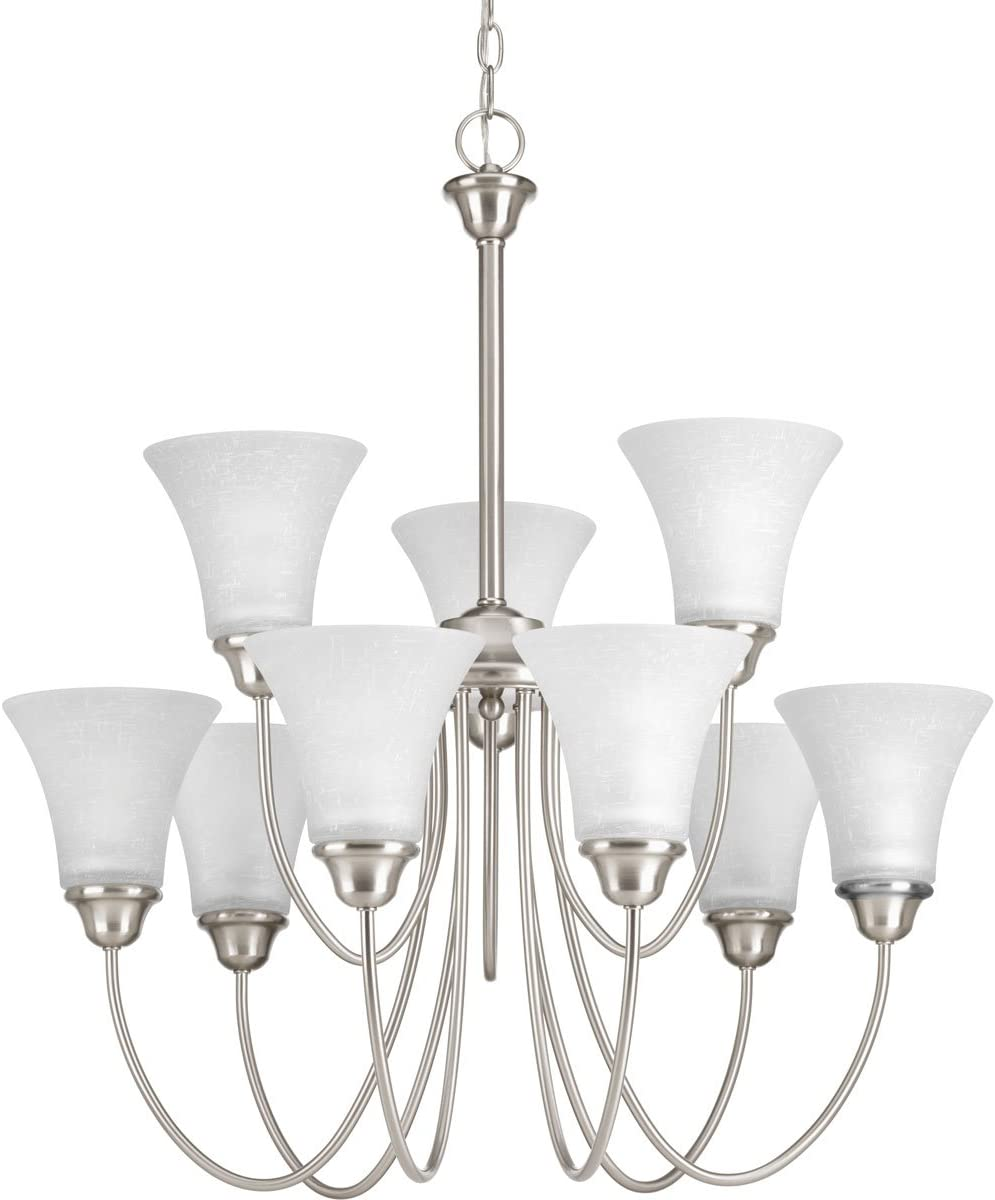 Progress Lighting P4743-09 Transitional Nine Light Chandelier from Tally Collection in Pwt, Nckl, B S, Slvr. Finish, Brushed Nickel
