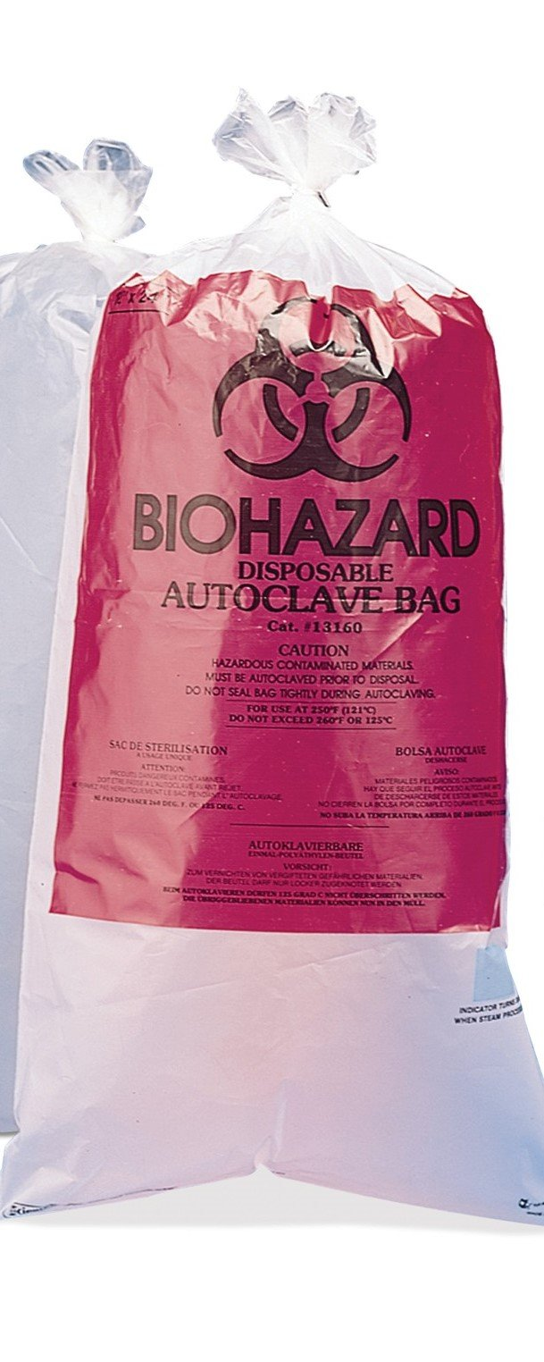 Autoclavable BioHazard Bags, 24 x 30 Inches, 100 per Package by RPI
