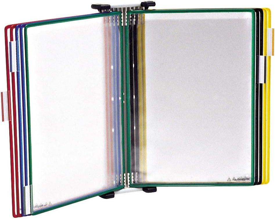 TARIFOLD Es TAA414109 - Expositor de pared A4 para catálogos con 10 fundas PVC, colores surtidos