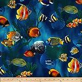 Island Sanctuary Sea Tropical Fish Cobalt Fabric By The Yard