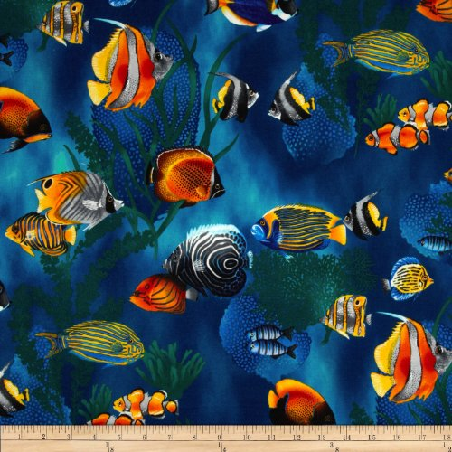 Island sanctuary sea tropical fish cobalt fabric by the for Fish fabric by the yard